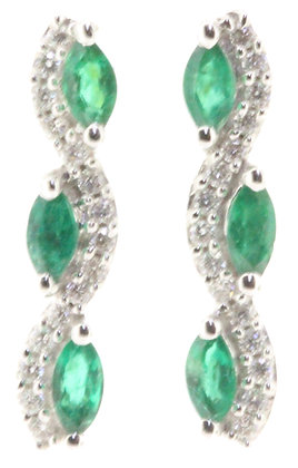 18ct white gold emerald and diamond earrings