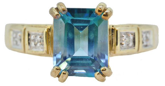 9ct yellow gold blue topaz and diamond ring front view