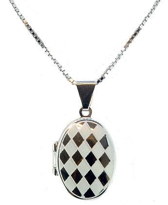 9ct White Gold Checkerboard Locket