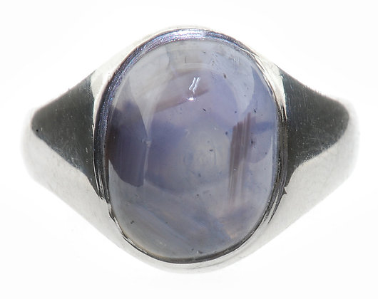 18ct white gold star sapphire ring front view
