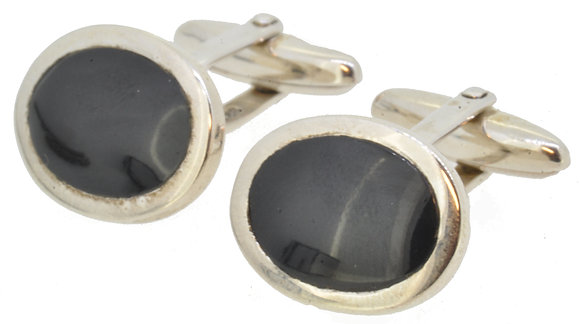 Sterling Silver Onyx Cufflinks Front View