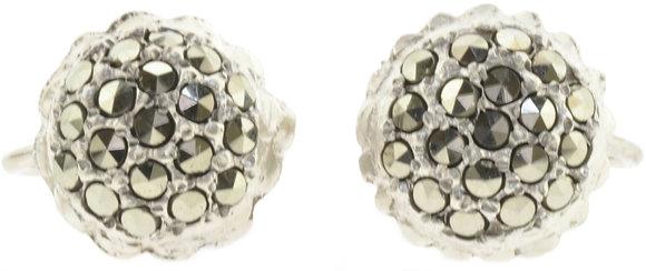 Vintage Marcasite Silver Screw Studs