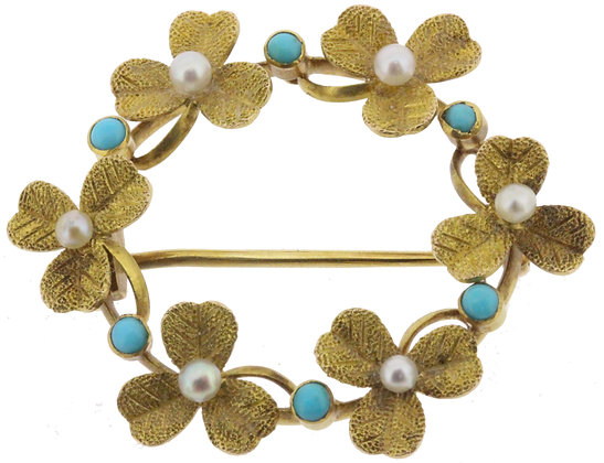 Antique 15ct yellow gold pearl and turquoise circle brooch