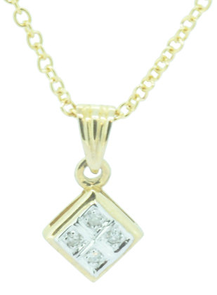 9ct yellow gold diamond necklace