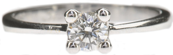 18ct white gold 0.32ct diamond single stone ring front view