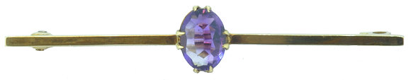 15ct Yellow Gold Amethyst Brooch