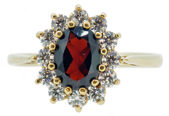 9ct Yellow Gold Garnet & CZ Cluster Ring