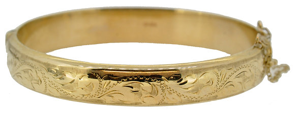 9ct Yellow Gold Hollow Oval Bangle