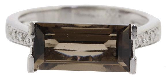 White Gold Smokey Quartz Ring Front View