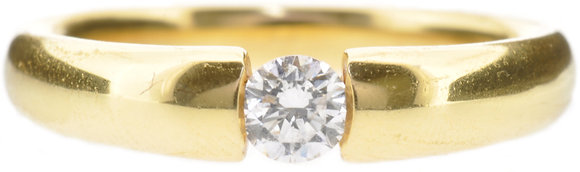 18ct yellow gold 0.35ct diamond single stone ring front view