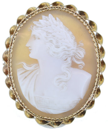 9ct yellow gold oval cameo brooch