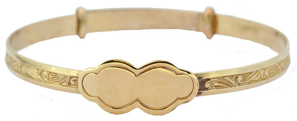 9ct yellow gold Maids expanding bangle front view