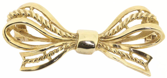 9ct yellow gold bow brooch