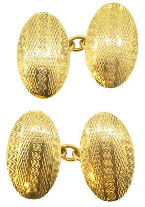 9ct yellow gold chain cufflinks front view