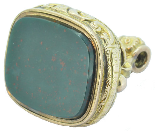 Antique yellow gold bloodstone fob