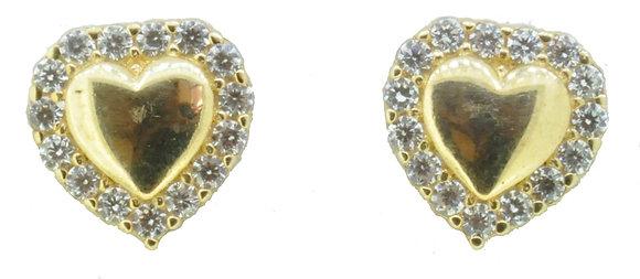 9ct Yellow Gold Heart CZ Stud Earrings