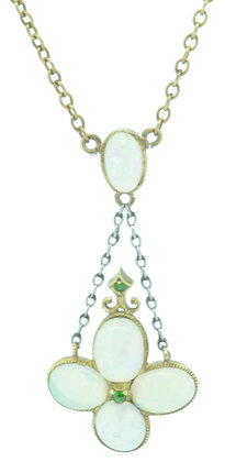 Antique opal and tsavorite necklace