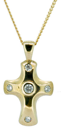 9ct yellow gold 0.20ct diamond cross necklace