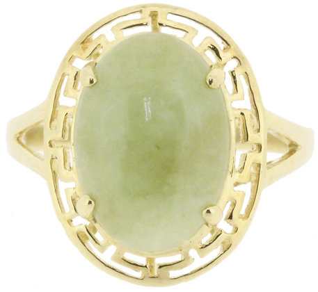 9ct yellow gold jade ring front view