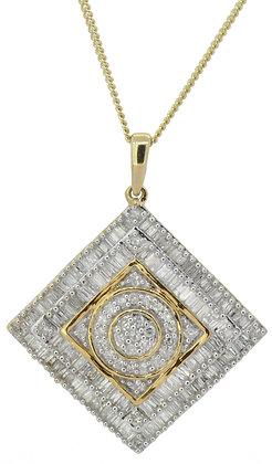 9ct yellow gold 1.50ct diamond necklace