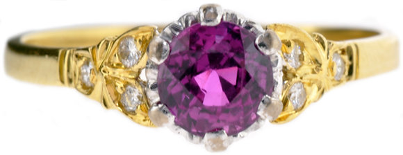 18ct gold and platinum ruby and diamond ring front view
