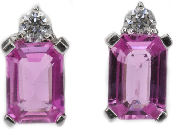 18ct white gold pink sapphire and diamond stud earrings