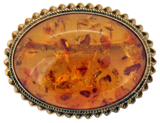 9ct yellow gold oval amber brooch