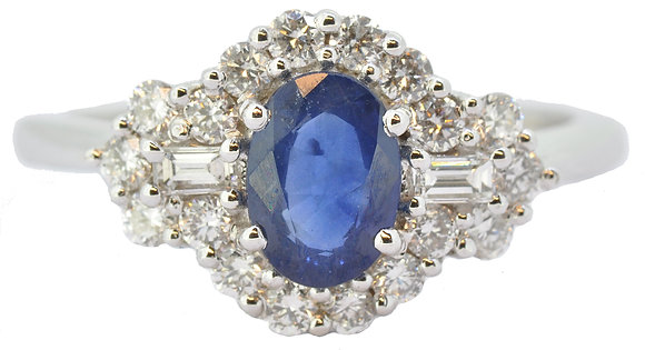 18ct white gold sapphire and diamond ring front view
