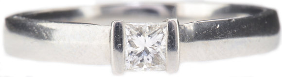 Platinum 0.25ct diamond single stone ring front view