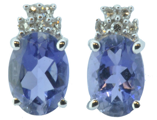 White Gold Iolite and Diamond Stud Earrings