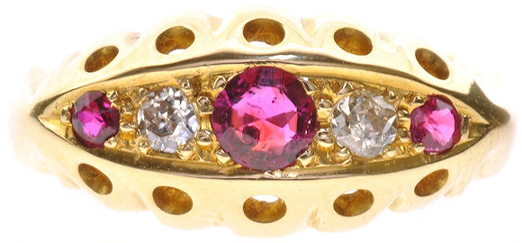 18ct antique gold ruby and diamond ring front view