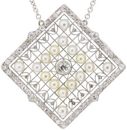 Antique 18ct white gold and platinum diamond and pearl necklace