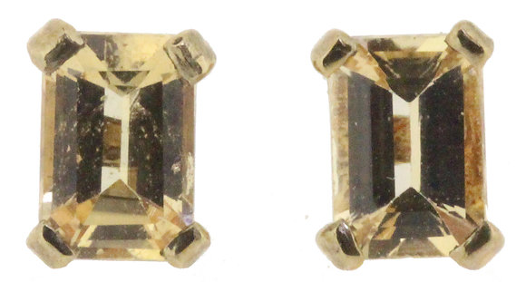 9ct yellow gold topaz stud earrings