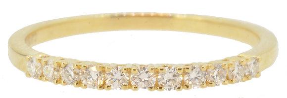 18ct Yellow Gold 11 Stone Diamond Half Eternity Ring Front View