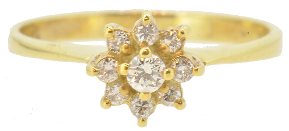 Flower Yellow Gold Diamond Ring Front View