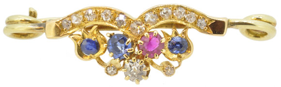 Antique 15ct Yellow Gold Sapphire, Ruby & Diamond Brooch
