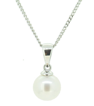 9ct White Gold Cultured Pearl Necklace