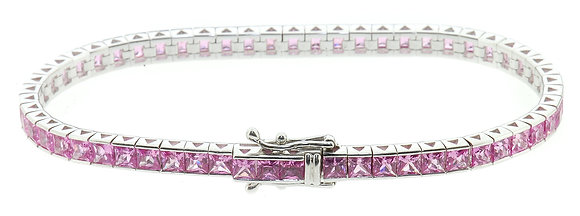 18ct white gold pink sapphire bracelet front view