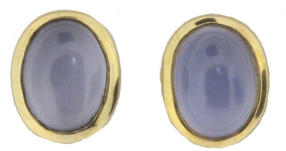 Yellow Gold Moonstone Stud Earrings