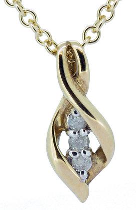 9ct yellow gold CZ three stone necklace