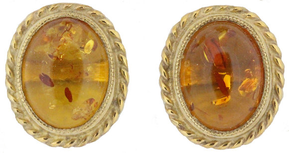 9ct yellow gold amber oval stud earrings