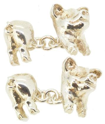 Silver Pig Chain Cufflinks