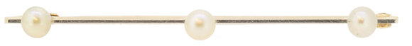 15ct Gold and Platinum Pearl Bar Brooch
