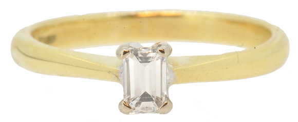 18ct yellow gold 0.22ct diamond emerald cut ring front view