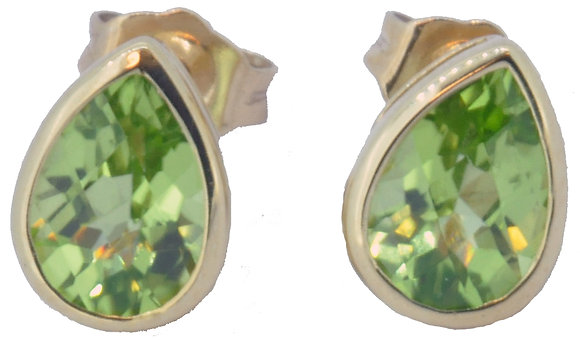 9ct yellow gold peridot stud earrings