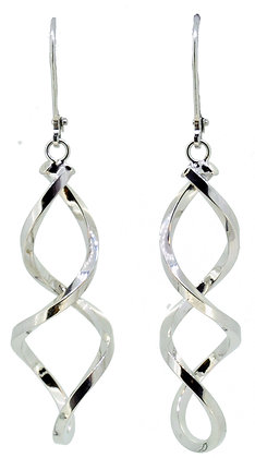 9ct White Gold Twirl Drop Earrings