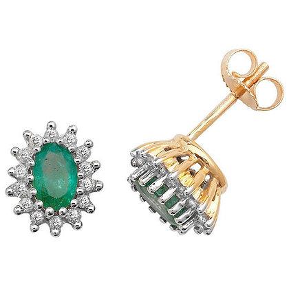 9ct Yellow Gold Emerald and Diamond Stud Earrings