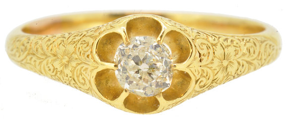 Antique 18ct yellow gold single stone diamond ring