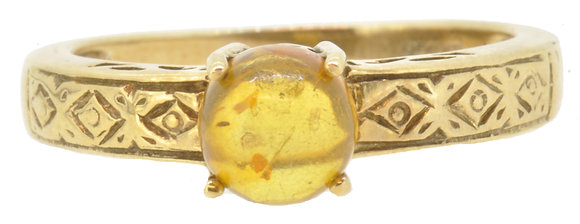9ct yellow gold amber ring front view