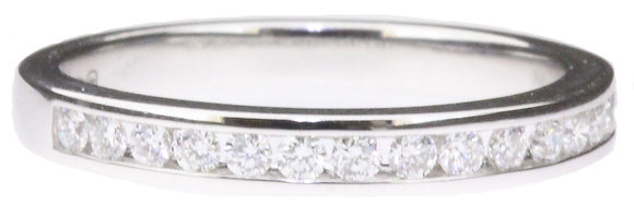 18ct white gold 0.27ct diamond half eternity ring front view